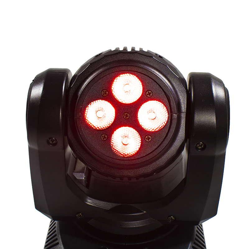 Двухсторонний светодиодный луч 4x10 Вт + 1x10 Вт RGBW 15/21 Канал DMX 512 Вращающаяся движущаяся головка Освещение сцены