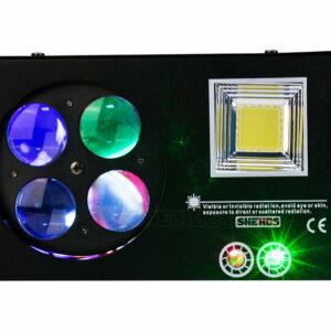 Беспроводной пульт дистанционного управления / светодиодный лазерный стробоскоп 4in1 DMX512 Сценический световой эффект Хорошо для вечеринки по случаю