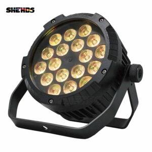 IP65 Водонепроницаемый LED Flat Par 18x12 Вт RGBW Освещение С DMX512 для Диско DJ Party Украшения Сценического Освещения Черный Корпус